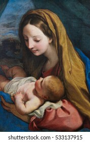 VIENNA, AUSTRIA - MAY 29, 2010: Painting (1660) depicting Mother Mary and Child Jesus - Nativity Scene at Christmas