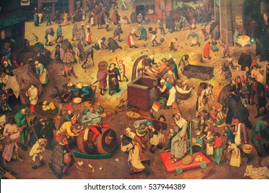 VIENNA, AUSTRIA - MAY 29, 2010: Flemish Renaissance Painting (1567) depicting The Fight Between Carnival and Lent