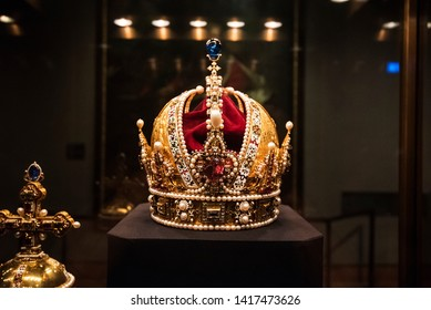 Vienna, Austria - May 29, 2019. The Imperial Crown of Austria exhibited inside the Imperial Treasury Museum.