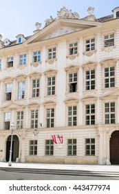 VIENNA, AUSTRIA - MAY 31, 2016: Detail of front facade of baroque Dietrichstein Ulfeld Palace on Minoriten square in old city centre of Vienna, Austria