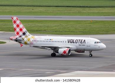 Vienna, Austria - May 31, 2019. A Volotea Airlines Airbus A319-100 (EC-MUX) taxis at Vienna International Airport.