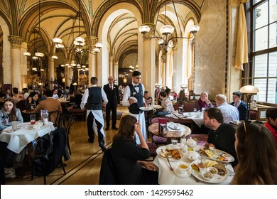 Vienna, Austria - May 31, 2019. Interior of the Café Central. Café Central is a traditional Viennese café located at Herrengasse 14 in the Innere Stadt.