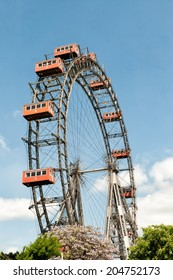 VIENNA, AUSTRIA - MAY 5: Viennese ferris wheel in the Prater area on May 5, 2014 in Vienna. The Viennese ferris wheel was constructed in 1897 to celebrate the Golden Jubilee of Emperor Franz Josef I.