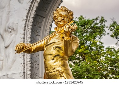 VIENNA, AUSTRIA - MAY 7, 2016: Monument to the composer Johann Strauss (was created in 1921) in Vienna City Park (Stadtpark Vienna, since year 1862) - biggest park area in center of city.