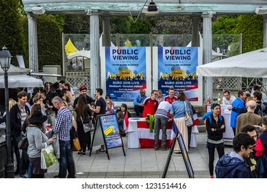 VIENNA, AUSTRIA - MAY 7, 2016: 6 - 8 May 2016 Vienna City Park (Stadtpark) become largest products fair Wienissimo food festival. More than 160 stalls presented best examples of Austrian cuisine.