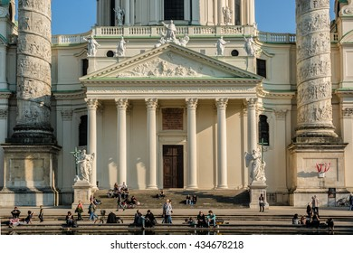 VIENNA, AUSTRIA - MAY 7, 2016: View of Karlskirche (St. Charles's Church, 1737) - one of the city's greatest buildings. Karlskirche is dedicated to Saint Charles Borromeo. Sunset.