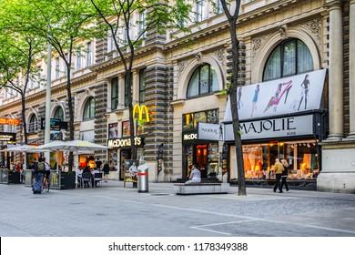 VIENNA, AUSTRIA - MAY 8, 2016: Mariahilferstrasse - largest and one of most popular Shopping Streets. Almost all major department stores can be found at Mariahilferstrasse.