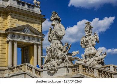 VIENNA, AUSTRIA - MAY 8, 2016: Architectural fragment of Colonnaded Gloriette (1775) in Schoenbrunn palace - former imperial residence, built and remodelled during reign of Empress Maria Theresa.