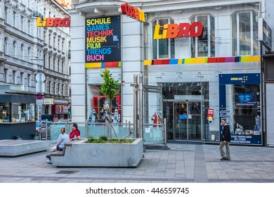 VIENNA, AUSTRIA - MAY 8, 2016: Mariahilferstrasse - largest and one of most popular Shopping Streets. Almost all major department stores can be found here.