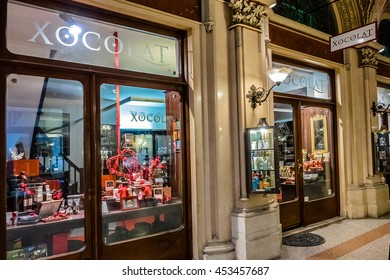 VIENNA, AUSTRIA - MAY 8, 2016: Freyung passage - exclusive shopping arcade, built in 1860 as part of Ferstel Palace. Marble-clad passage with pilasters and vaulted ceiling is lined with luxury stores.