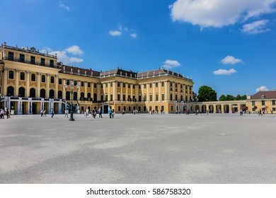 VIENNA, AUSTRIA - MAY 8, 2016: Schoenbrunn palace - former imperial summer residence, built and remodelled during reign of Empress Maria Theresa from 1743.