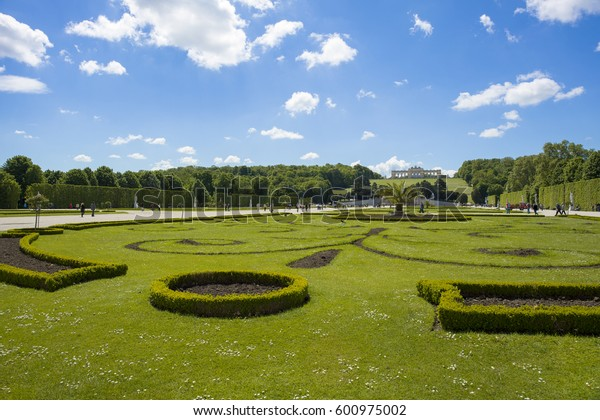 Vienna, Austria - May 8, 2016: Beautiful garden in  Schonbrunn Palace, Vienna, Austria, May 8, 2016