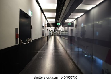 Vienna, Austria: May/20/2019 - Vienna International Airport (built in 1938 and the largest airport in Austria). Empty corridor hallway with no people.