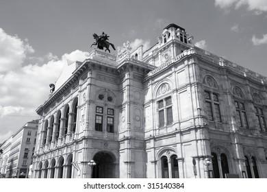 Vienna, Austria - National Opera House (Staatsoper). Black and white tone.