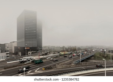 VIENNA, AUSTRIA - NOV. 12, 2018: Highway A23 after big renovation of 2015-2017 wrapped in fog. It's the shortest highway and with a frequency of 170,000 vehicles per day, the busiest street in Austria