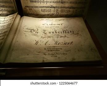 Vienna, Austria - November 1, 2018 - Shot of the original staff of a musical composition made by Mozart