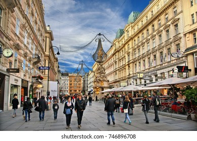 """VIENNA, AUSTRIA- November 16, 2015. Graben, one of the main commercial streets in the historic center, the """"Inner City"""" (World Heritage Site by UNESCO) of Vienna, Austria"""