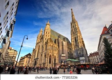 VIENNA, AUSTRIA - November 16, 2015. View of  Stephansdom (St Stephen's Cathedral), and a Christmas market, at Stephansplatz.
