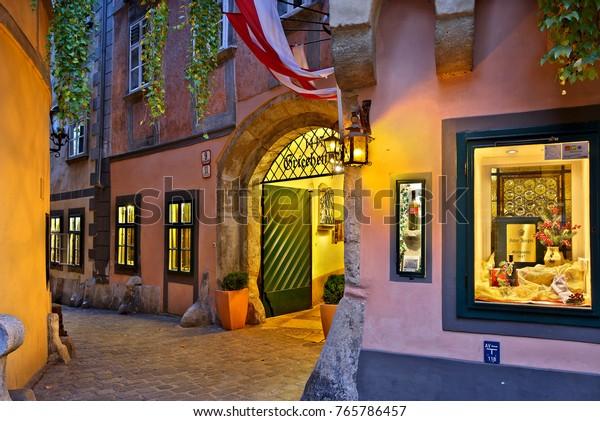 """VIENNA, AUSTRIA- November 16, 2015. The """"Griechenbeisl"""" (literally """"Greeks' tavern - inn"""") at Griechengasse, one of the oldest restaurants (est. 1447) in Vienna"""