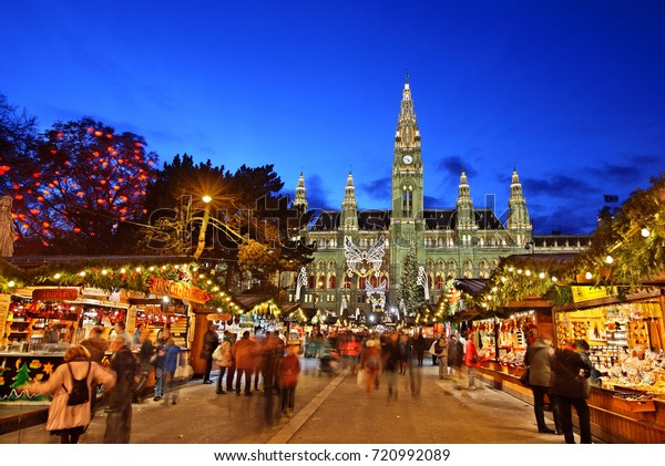 VIENNA, AUSTRIA - November 17, 2015. The Christmas market in front of the Rathaus (City hall) of Vienna, Austria.