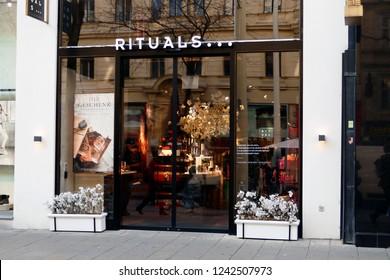 Vienna, Austria - November 17, 2018: Rituals shop in Mariahilfer street