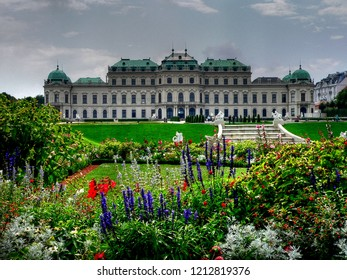 VIENNA, AUSTRIA - NOVEMBER 2, 2014: The Upper Belvedere Palace with gardens in the foreground. The Baroque palace was built as a summer residence for Prince Eugene of Savoy.