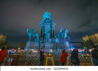 Vienna, Austria - November 2017: Christmas Market near the statue of Empress Marie-Theresa in Vienna, Austria. More than 60 stalls offer traditional handicraft items and unique gifts. Vienna, Austria