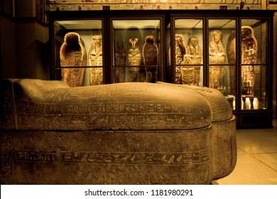 VIENNA, AUSTRIA - NOVEMBER 2017: Egyptian Mummy Collection at Kunsthistorisches Museum Vienna Austria, Europe