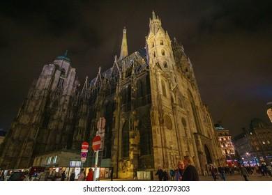 Vienna, Austria - November 2017: St. Stephan cathedral in Vienna at twilight, Austria, Europe