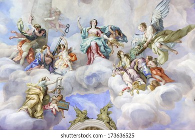 VIENNA, AUSTRIA  - NOVEMBER 23,2013: The Karlskirche (St. Charles's Church). Vibrant frescoes of saints and angels decorate the vaulted interior dome of Vienna�s Karlskirche.
