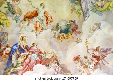 VIENNA, AUSTRIA  - NOVEMBER 23,2013: The Karlskirche (St. Charles's Church). Vibrant frescoes of saints and angels decorate the vaulted interior dome of Viennas Karlskirche.