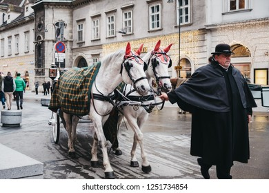 Vienna, Austria - November 24, 2018: Horse carriage on a street in Vienna, Austria, in the evening. Horse carriage tours are very popular amongst tourists.
