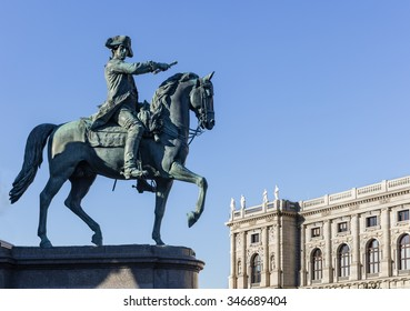 VIENNA, AUSTRIA - NOVEMBER 24,2015: Equestrian statue of field marshal Laudon on Empress Maria Theresia monument in front of Natural History Museum in Vienna