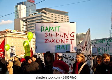 VIENNA, AUSTRIA - NOVEMBER 27: thousands are demonstrating peaceful against cutting of social expenditures by the government specially for kids and families on  November 27, 2010 in Vienna, Austria.