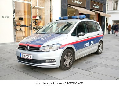 Vienna, Austria - November 28, 2017 : Police car in front of the Cathedral of St. Stephen at Stefanplatz