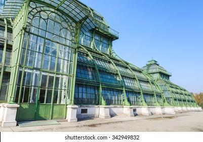 Vienna, Austria - November 3, 2015: Fragment of Palm house in garden of Schonbrunn Palace