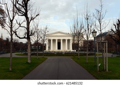 VIENNA, AUSTRIA - NOVEMBER 30, 2012:Neoclassical Theseus Temple, completed in 1821. This small-scale replica of the Temple of Hephaestus in Athens. Volksgarten.
