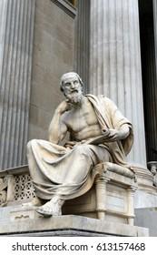 VIENNA, AUSTRIA - NOVEMBER 30, 2012:Sculpture of Herodotus of Halicarnassus, the building of the Austrian Parliament.