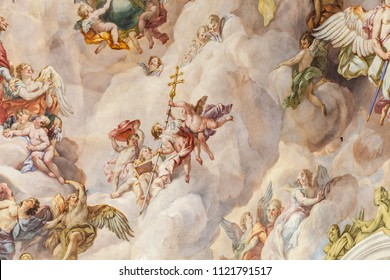 Vienna, Austria - November 4, 2015: Karlskirche ceiling with fresco, it is a baroque church located on the south side of Karlsplatz in Vienna