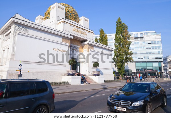 Vienna, Austria - November 4, 2015: The Vienna Secession building, it was built in 1897 by Joseph Maria Olbrich. Ordinary people walk on street