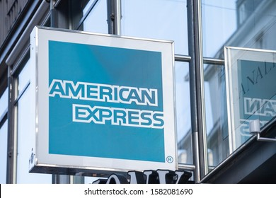 VIENNA, AUSTRIA - NOVEMBER 6, 2019: American Express logo in front of their office for Vienna. American Express, or Amex, is a US based financial service company known for debit and credit pay cards.