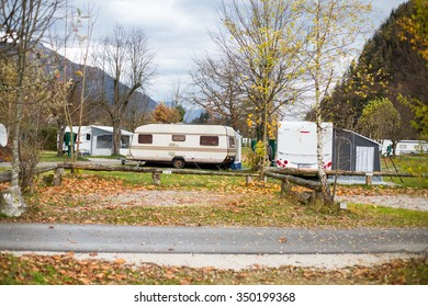 VIENNA ,AUSTRIA -November 9 ,2015-Caravan area for van type camping people to relax and do family activity on holiday on Vienna ,Austria.