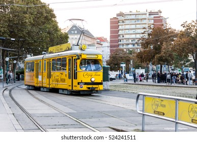 VIENNA, AUSTRIA - OCT 16, 2016: The Vienna Ring Tram Tour on October 16, 2016 in Vienna, Austria. A tram that runs all the Ring street of the historical center of Vienna