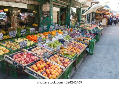 VIENNA AUSTRIA - OCT 16 Naschmarkt market on October 16, 2016 in Vienna, Austria. One of Vienna's best-known markets; In it you can find colorful stands of flowers, meat, bread and all kinds of food.