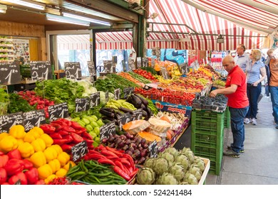 VIENNA AUSTRIA - OCT 16:  Naschmarkt market on October 16, 2016 in Vienna, Austria.One of Vienna's best-known markets; In it you can find colorful stands of flowers, meat, bread and all kinds of food.