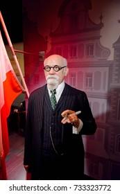 VIENNA, AUSTRIA - OCT 4, 2017: Karl Renner, an Austrian politician of the Socialist Party, Madame Tussauds wax museum in Vienna.