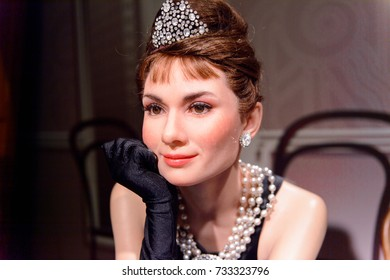 VIENNA, AUSTRIA - OCT 4, 2017: Audrey Hepburn, a British actress, model, dancer and humanitarian, Madame Tussauds wax museum in Vienna.