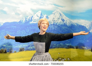 VIENNA, AUSTRIA - OCT 4, 2017: Julie Andrews as Maria von Trapp from the Sound of Music, Madame Tussauds wax museum in Vienna.