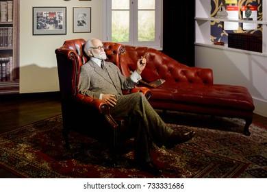 VIENNA, AUSTRIA - OCT 4, 2017: Sigmund Freud,  an Austrian neurologist and the founder of psychoanalysis, Madame Tussauds wax museum in Vienna.
