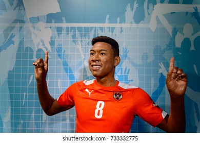 VIENNA, AUSTRIA - OCT 4, 2017: David Olatukunbo Alaba, an Austrian professional footballer, Madame Tussauds wax museum in Vienna.